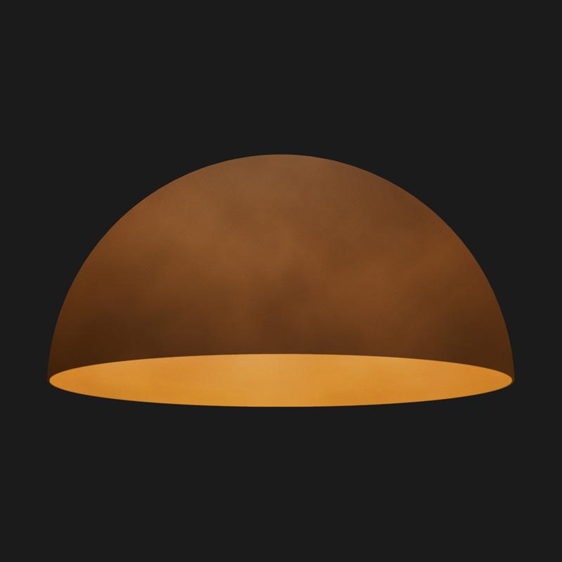 A corten dome pendant light on a black background.