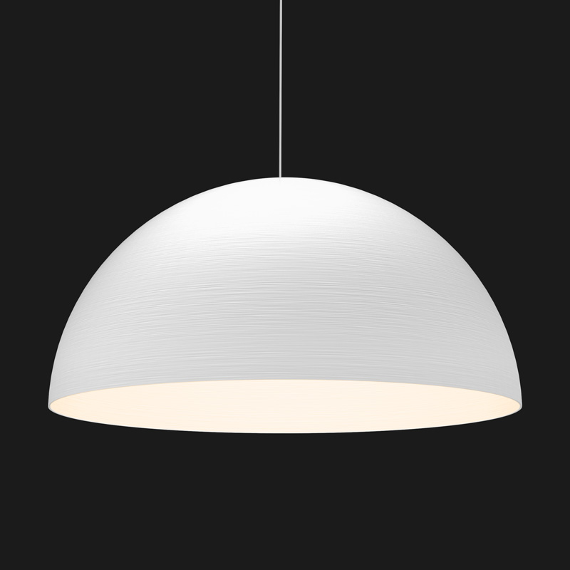 A white textured dome pendant light on a black background.