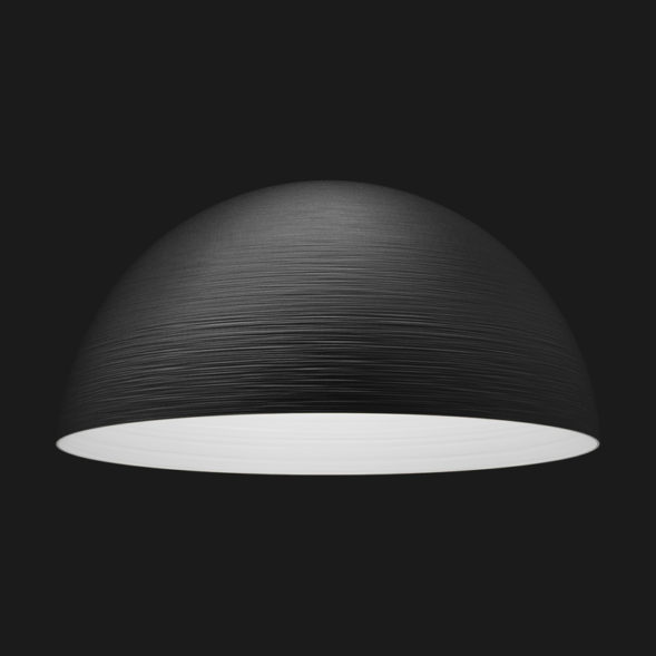 A black and white textured dome pendant light on a black background.