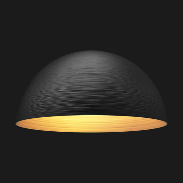 A black and gold textured dome pendant light on a black background.