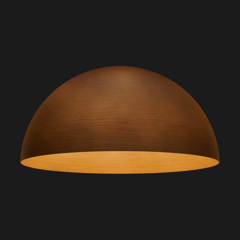 A corten textured dome pendant light on a black background.