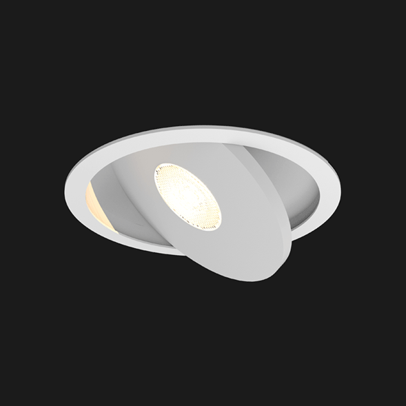 A white flat led downlight with black background