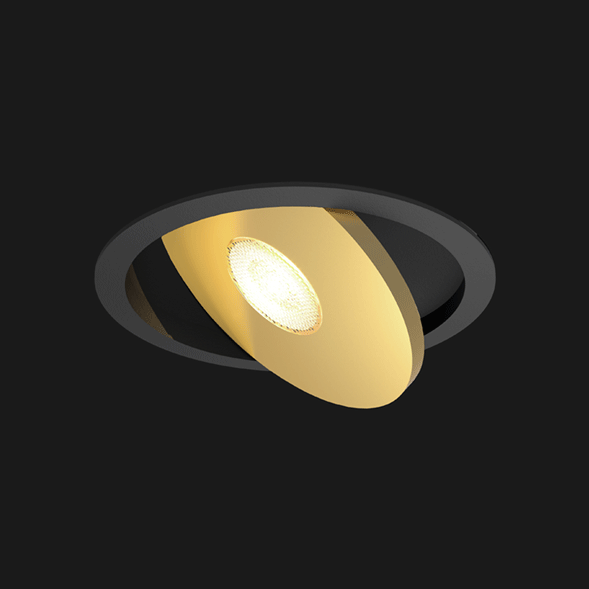 A black and gold flat led with black background