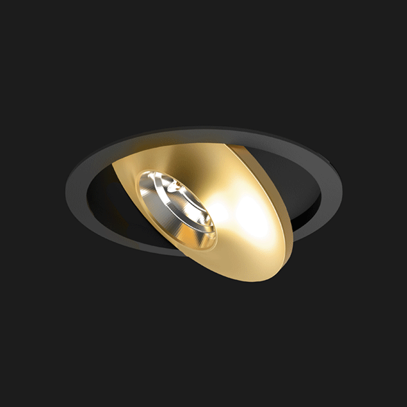 A gold and black flat led with a black background