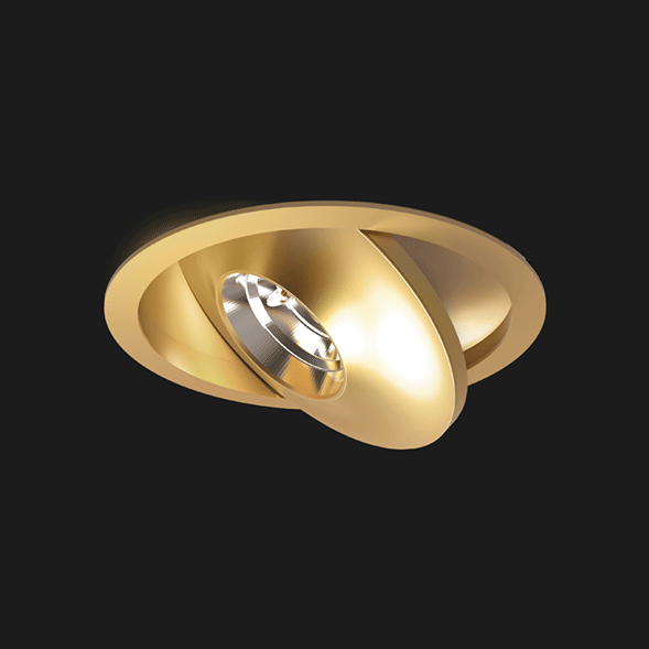 A gold flat led with a black background