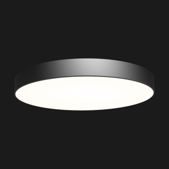 A black round pendant light with black background.