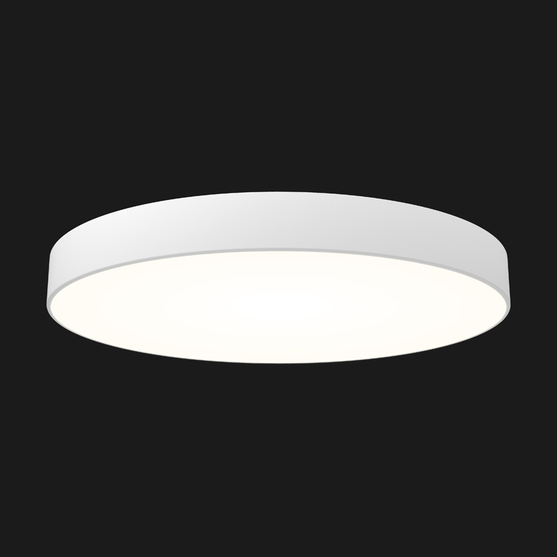A grey round pendant light with black background.