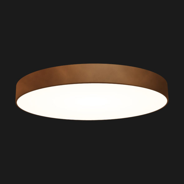 A corten round pendant light with black background.