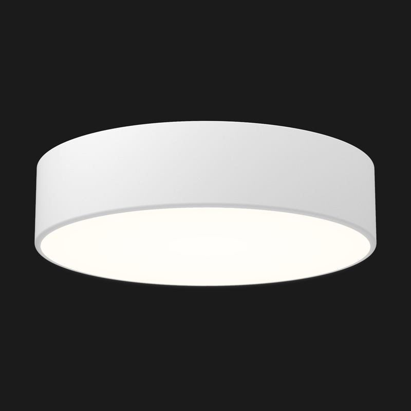 A white round pendant light with black background.