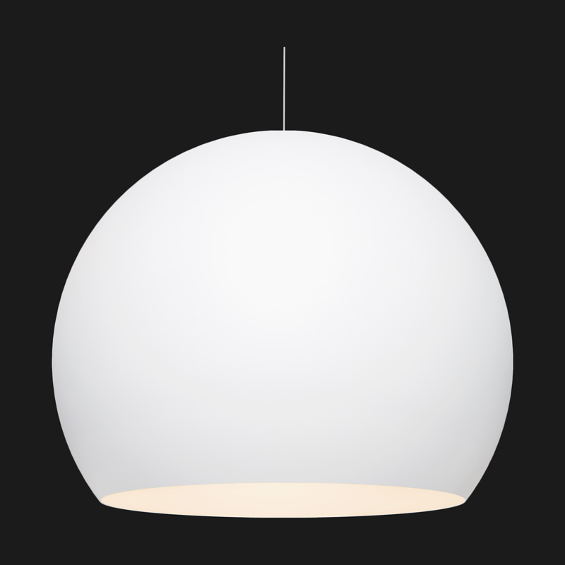 A white globe with pendant light on a black background.