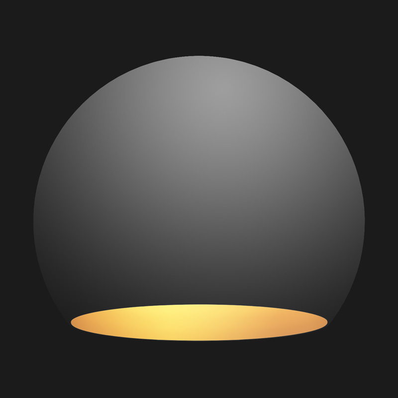 A black and gold globe pendant light on a black background.
