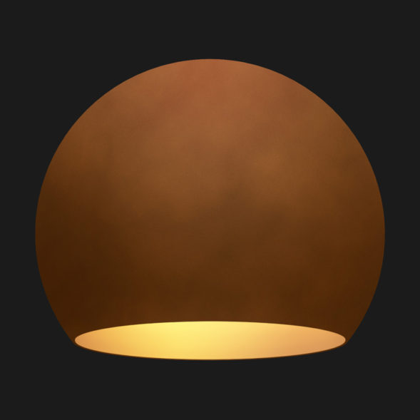 A corten and gold globe pendant light on a black background.