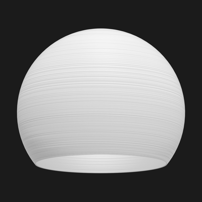 A white sphere textured pendant light on a black background.