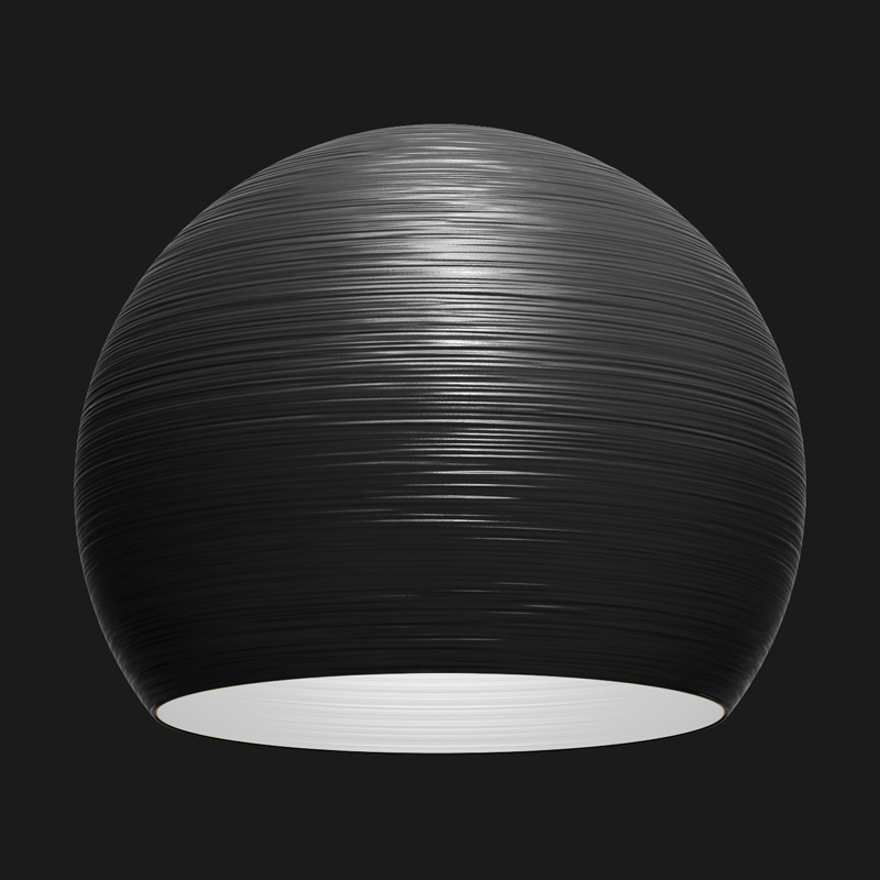A black sphere textured pendant light on a black background.
