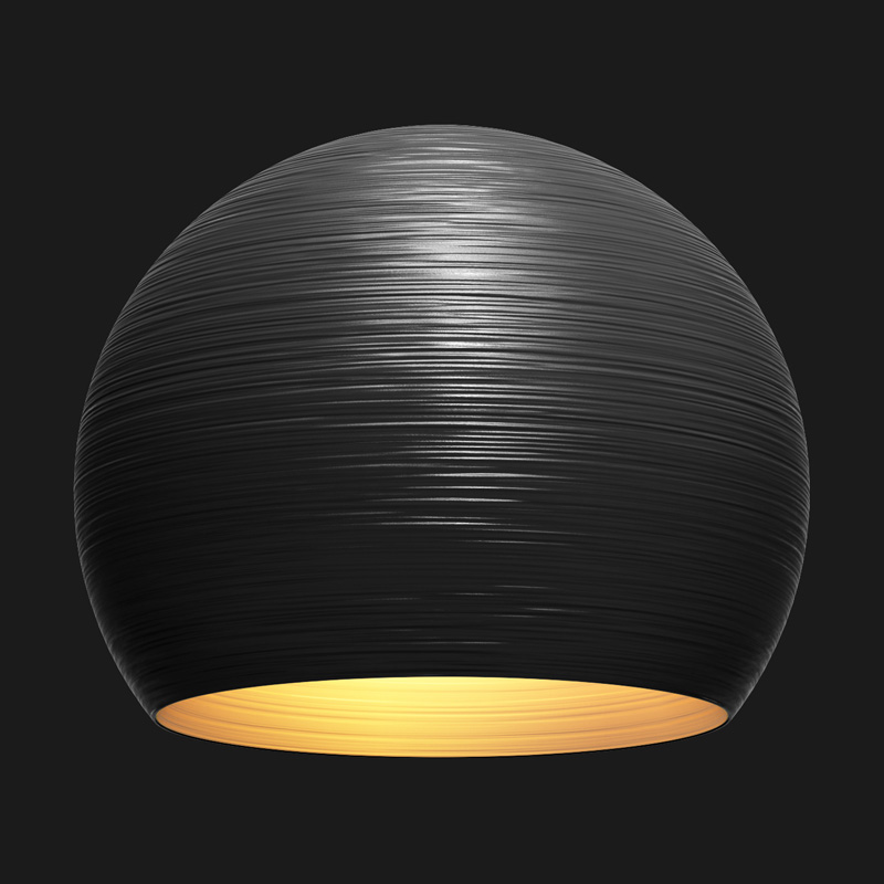 A black and gold sphere textured pendant light on a black background.