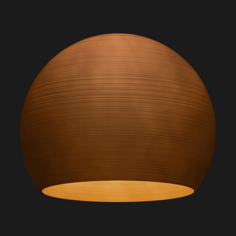 A corten sphere textured pendant light on a black background.