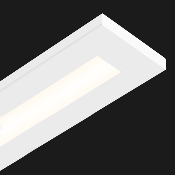 A white flat linear led on a black background.