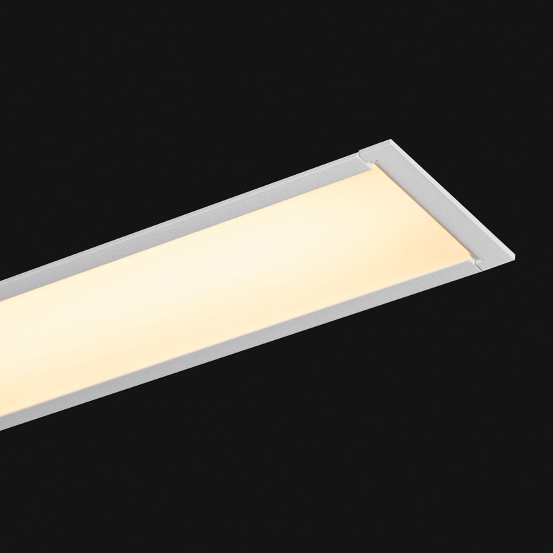 White Recessed linear LED 65x52mm on a black background