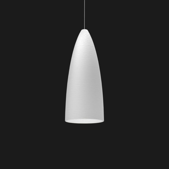 A white stylish pendant light with a black background.