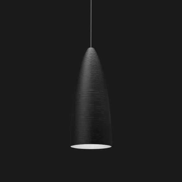A black stylish pendant light on a black background.