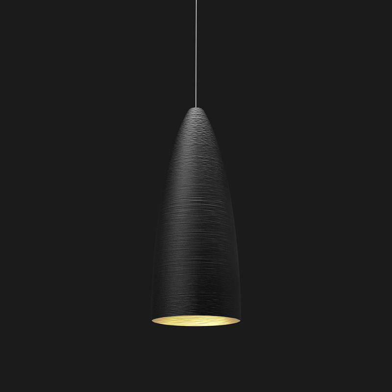 A black and gold stylish pendant light on a black background.