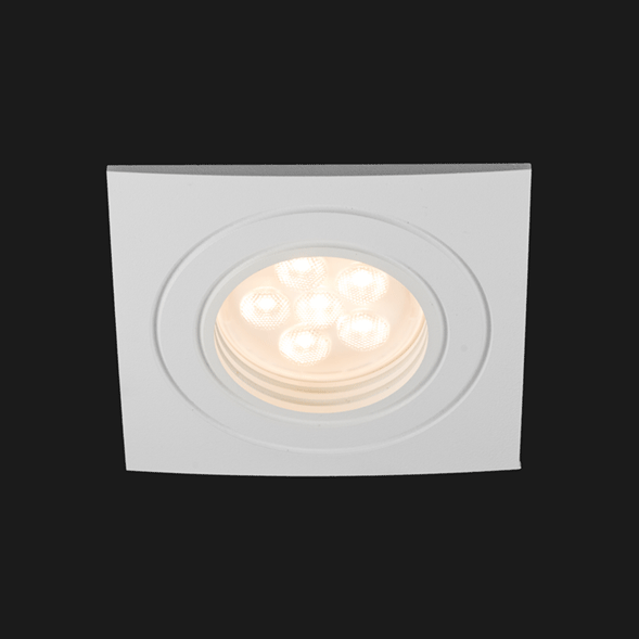 A white fix led downlight with black background