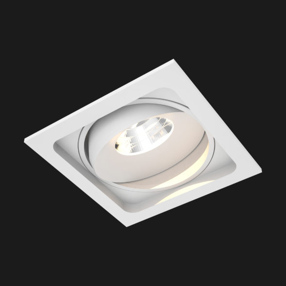 A white led downlight with black background