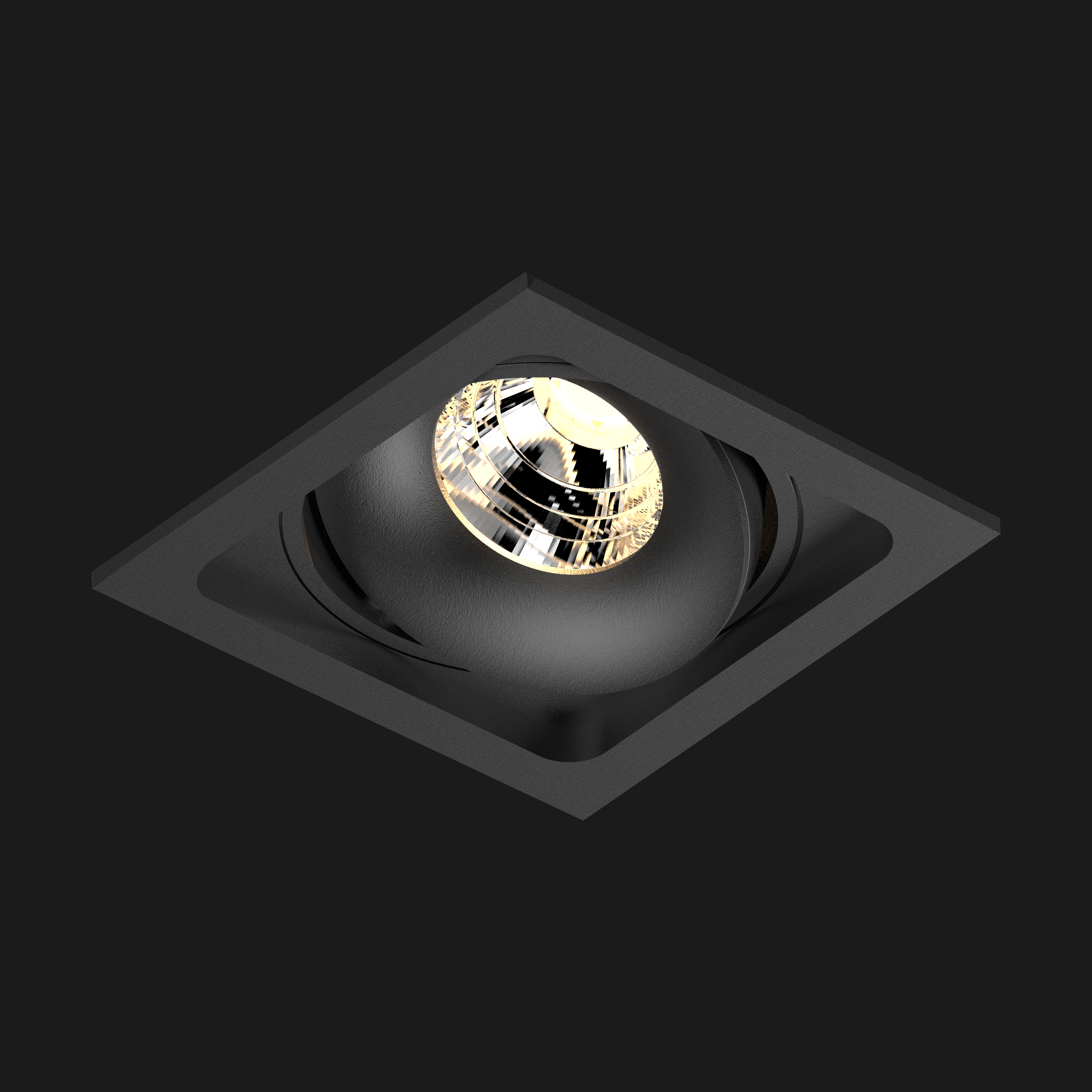 A black led downlight with black background
