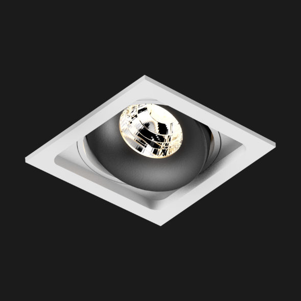 A black and white led downlight with black background