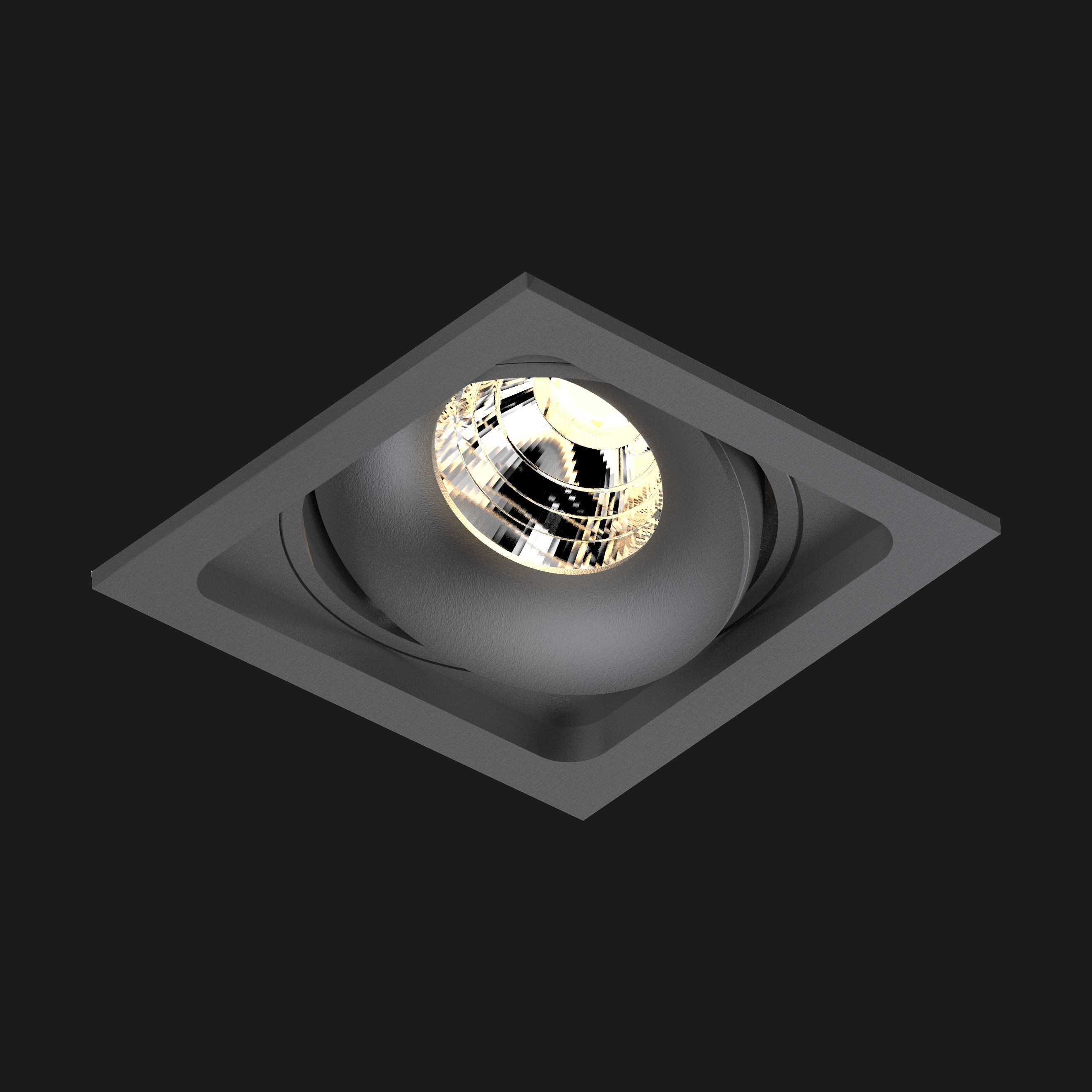 A anthracite led downlight with black background