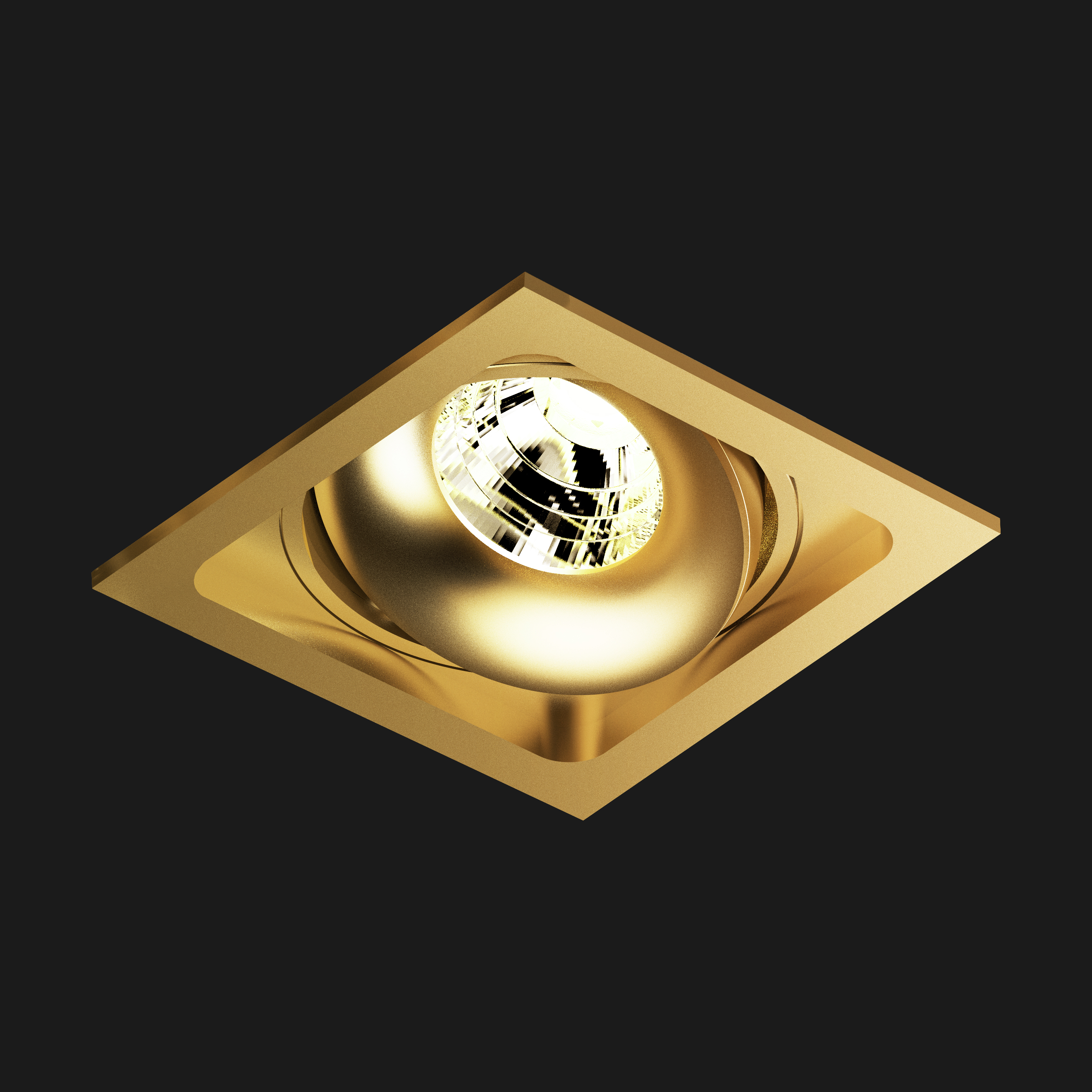 A gold led downlight with black background