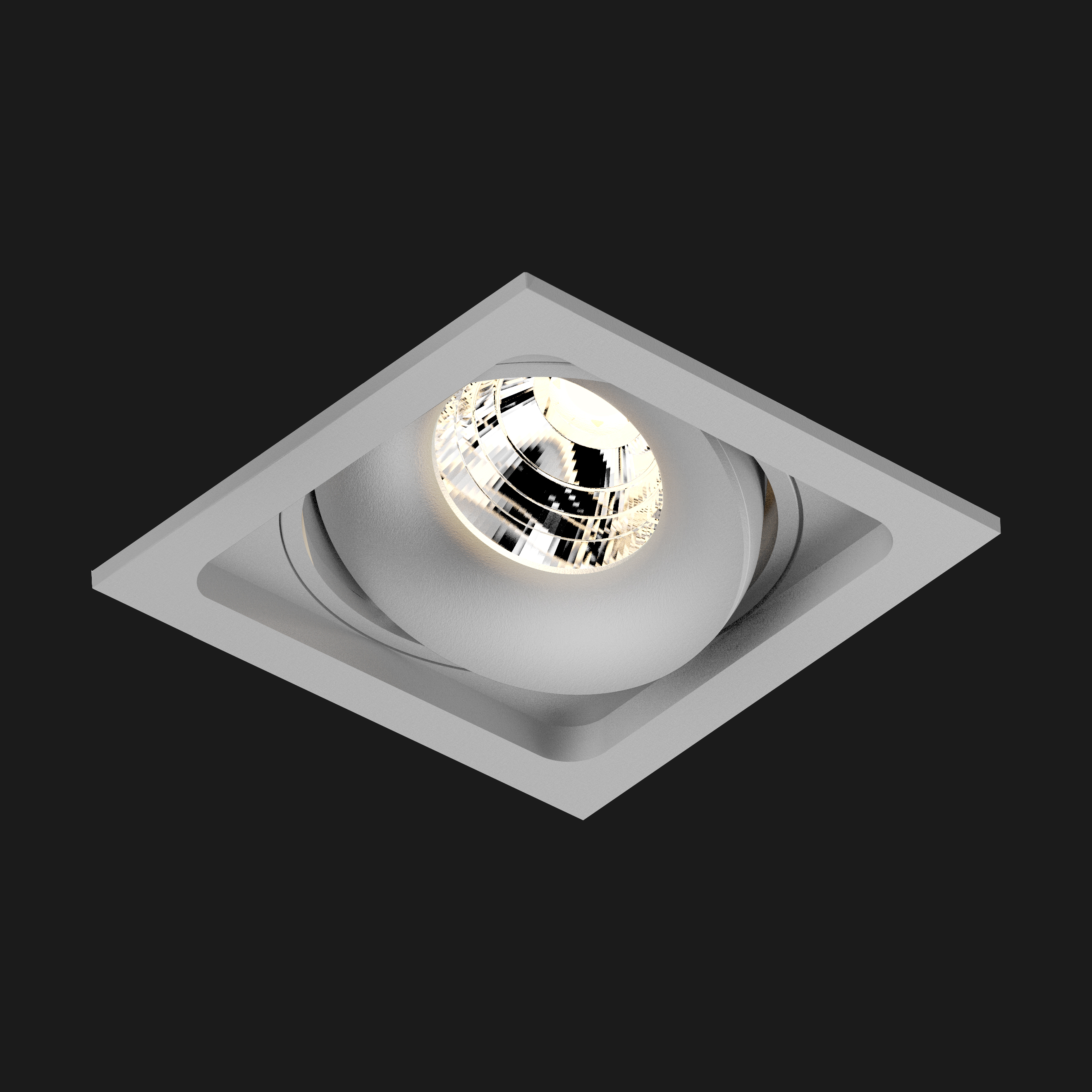 A grey led downlight with black background