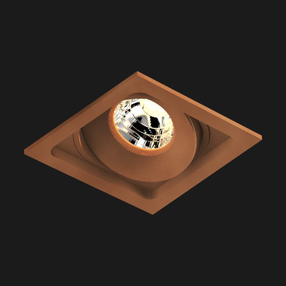 A corten led downlight with black background