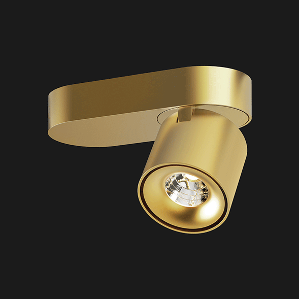 Gold base organic ceiling light on a black background