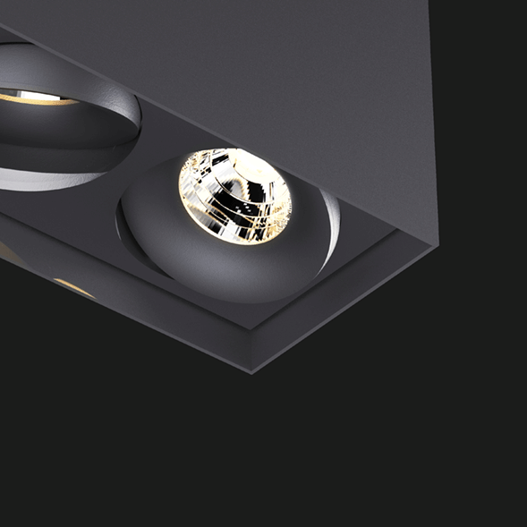 Anthracite suspended box pendant light on a black background