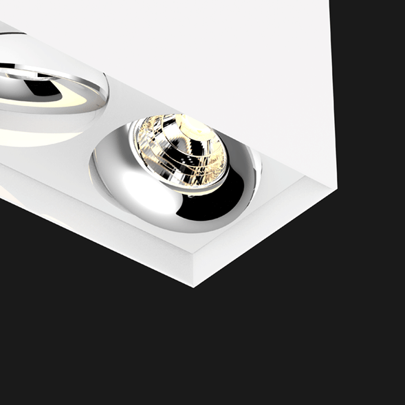 White and chrome suspended box pendant light on a black background