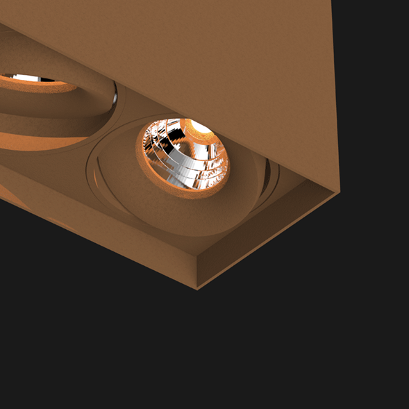 Corten suspended box pendant light on a black background