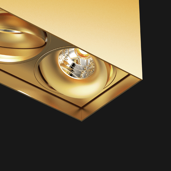Gold suspended box pendant light on a black background