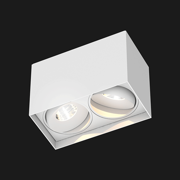 White surface mounted ceiling light on a black background