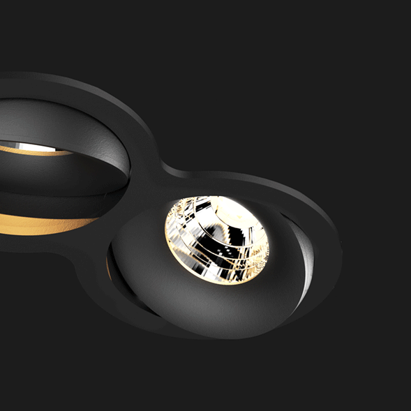 A black double 8 led downlight with black background