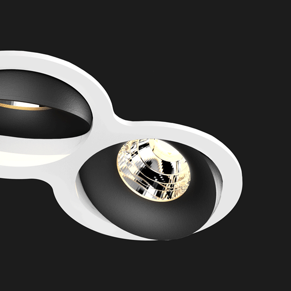 A black and white double 8 led downlight with black background