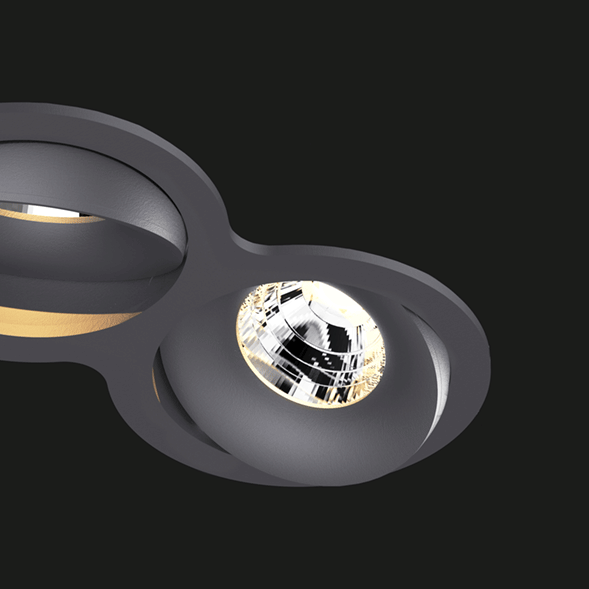 A anthracite double 8 led downlight with black background