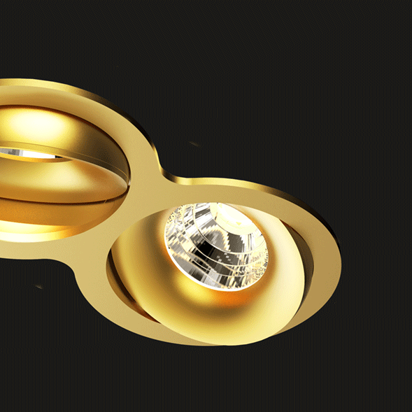 A gold double 8 led downlight with black background