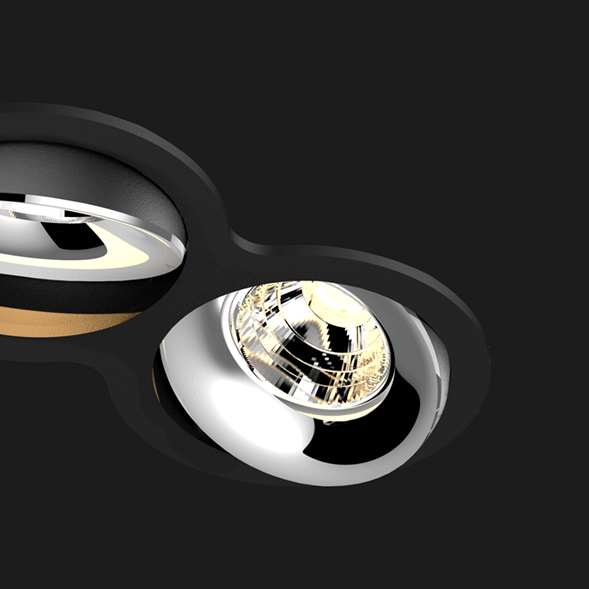 A black and chrome double 8 led downlight with black background