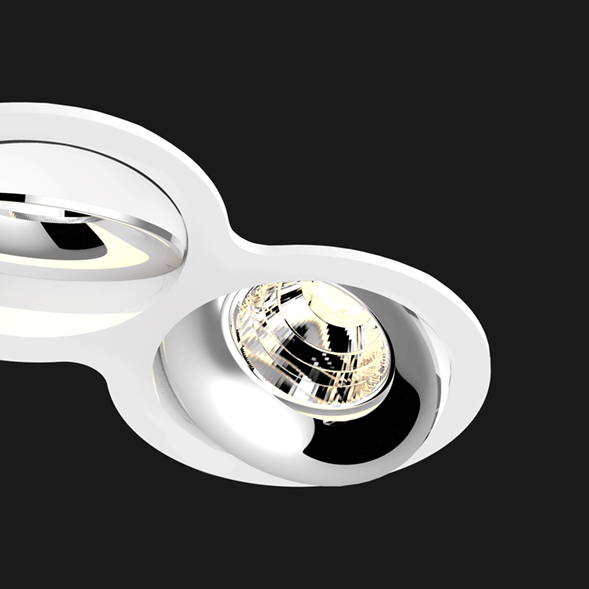 A white and chrome double 8 led downlight with black background