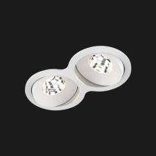 A white double 8 led downlight with black background