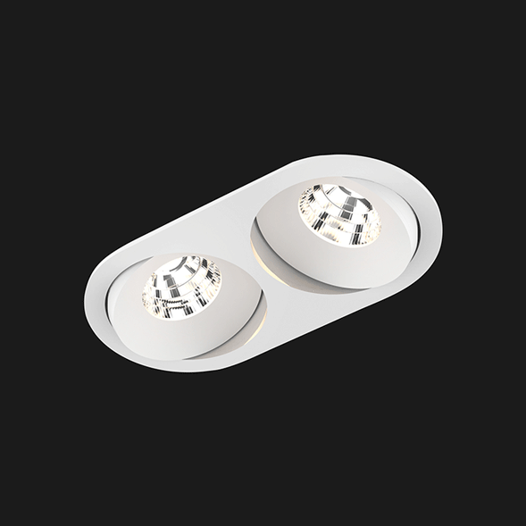 A white double oval led downlight with black background