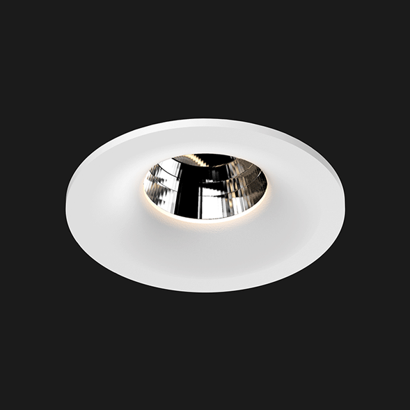 A white round fix led downlight with black background