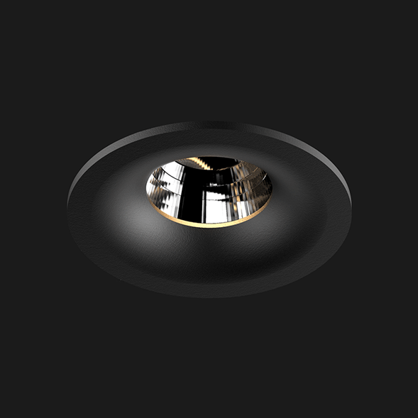A black round fix led downlight with black background