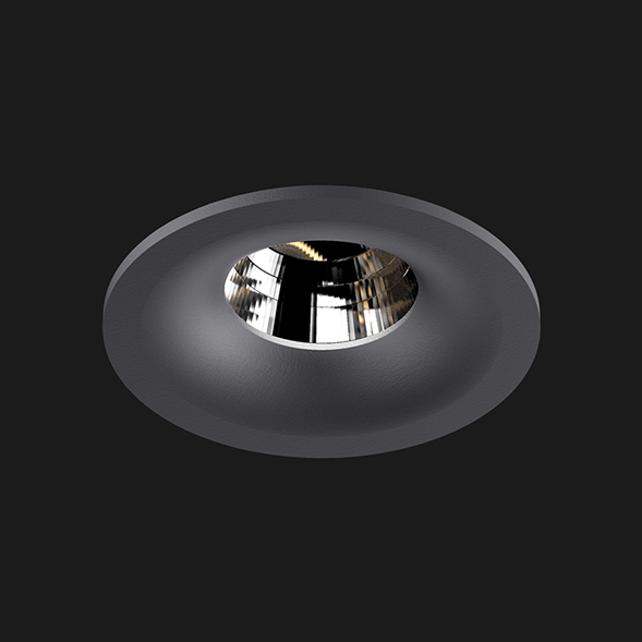 A antracite round fix led downlight with black background